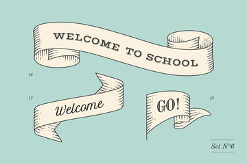 Set of old vintage ribbon banners and drawing in engraving style with inscription Welcome to school, Go and Welcome. Hand drawn design element. Vector Illustration
