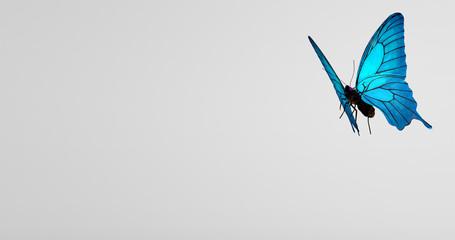 Fliegender blauer Schmetterling