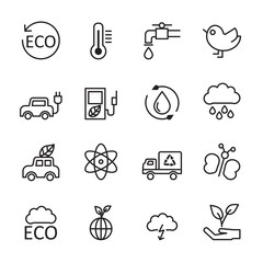 thin line ecology energy icon set 2, vector eps10