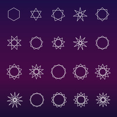 Polygons and polygrams sacred geometry vector set (variable line)