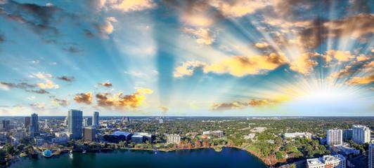 Wall Mural - Beautiful panoramic aerial view of Orlando from Lake Eola