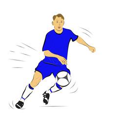 футболист бежит за мячом, абстрактный рисунок, эскиз  в цвете на белом фоне