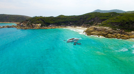 Acrylic Prints Shipwreck Wilsons Promontory famous beach, Victoria from the air, Australi