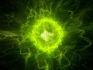 Glowing green plasma energy