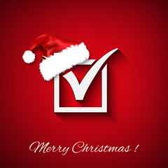 agreement symbols with christmas hat on red background. PS