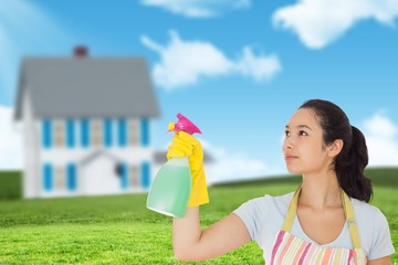 Composite image of young woman spraying cleaner