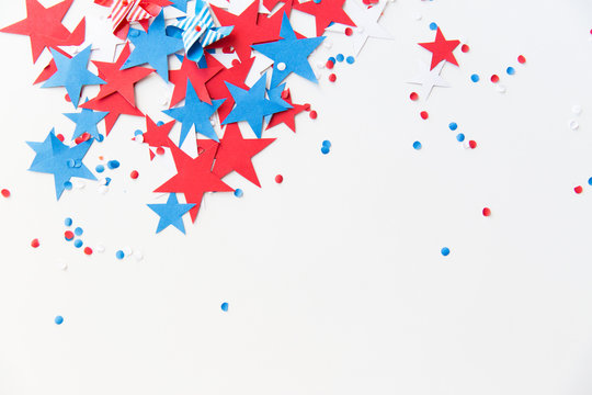 stars confetti on american independence day party