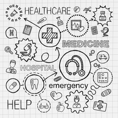 Medical hand draw integrated icons set. Vector sketch infographic illustration with line connected doodle hatch pictograms on paper. healthcare, doctor, medicine, science, emergency, pharmacy concepts