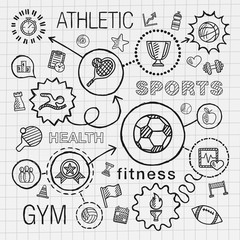 Sport hand draw integrated icons set. Vector sketch infographic illustration with line connected doodle hatch pictogram on school paper. competition, ball, play, soccer, tennis, cup sign, game concept