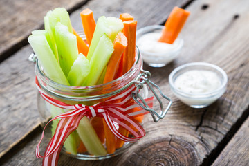 The sticks of carrots and celery, healthy snacks