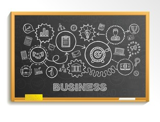 Business hand draw integrated icons set. Vector sketch infographic illustration. Line connected doodle pictograms on school board, strategy, mission, service, analytics, marketing, interactive concept
