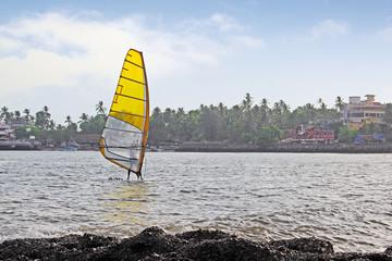Windsurfer at Dona Paula bay in Goa, India