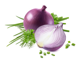 Purple onion green spring scallion isolated on white background