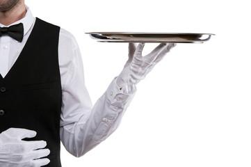 Waiter arm holding tray over white background.