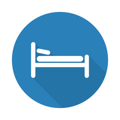 Flat white Bed web icon with long drop shadow on blue circle