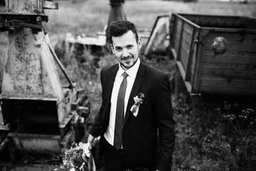 Funny face of the groom in the wedding day
