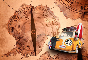 travel, old car toy vintage on map background