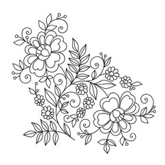 Flower design element. Drawing flowers.