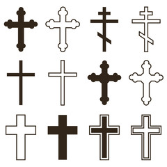 Big set of christian orthodoxy crosses in different styles and shapes isolated on white background. Cross as symbol of easter, faith, death and resurrection.