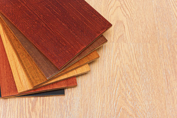 Samples of laminate floor boards