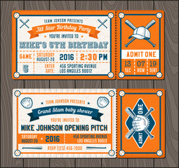 Vector Baseball Event Invites set 2