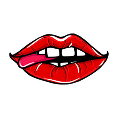 Open female mouth with red lips with tongue. Womens lips isolated on a white background. Vector illustration of sexy lips. Mouth kiss.