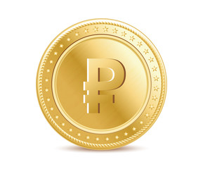 Golden isolated ruble coin on the white background