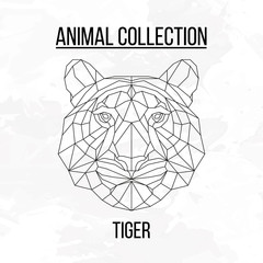 Geometric animal tiger head background