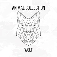 Geometric animal wolf head background