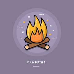 Campfire, flat design thin line banner, usage for e-mail newsletters, web banners, headers, blog posts, print and more