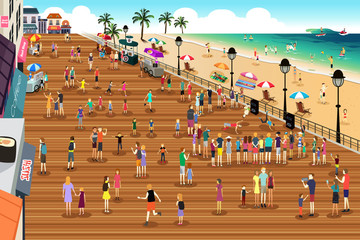 People in a Boardwalk Scene