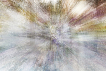 A psychedelic blurry image of a forest.