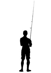 Silhouette of a fisherman with a fishing rod on white background