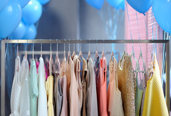 Beautiful dresses on a hanger