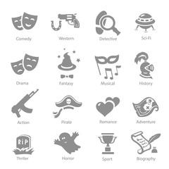 Film genres icons set  history western comedy sci-fi symbols
