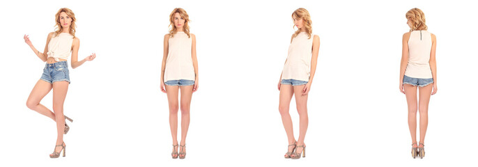Beautiful woman in summer shorts  isolated on white