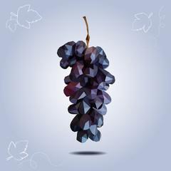 polygonal dark grapes on light background