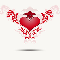 Tracery heart with wings.Vector