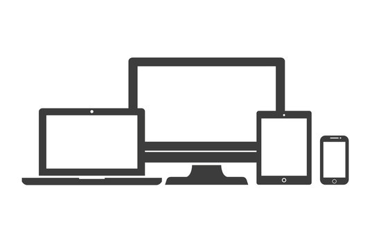 Device Icons: isolated smart phone, tablet, laptop and desktop computer. Stylish vector illustration of responsive web design.