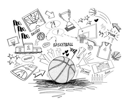 Basketball doodles-hand drawing