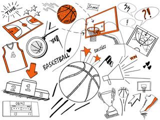 Basketball doodles-hand drawing