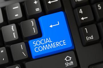 Modern Laptop Keyboard Keypad Labeled Social Commerce. Social Commerce Concept: PC Keyboard with Social Commerce on Blue Enter Key Background, Selected Focus. 3D Render.