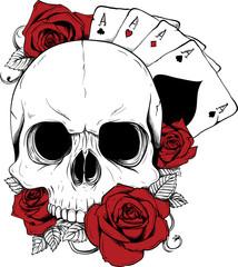 teschio rose carte