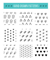 Hand drawn black and white pattern, simple clean style