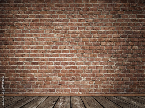 old brick wall with old wooden floor imagens e fotos de stock