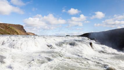 Gullfoss Waterfall.  A close up view of Gullfoss (Golden Falls) waterfall in Iceland.