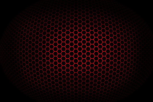 Background with red spherical octagonal grid