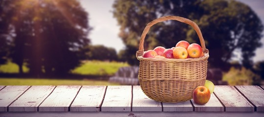 Composite image of basket of apples