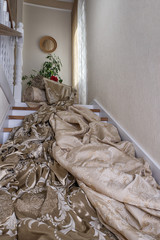 Luxury fabric on the stairs