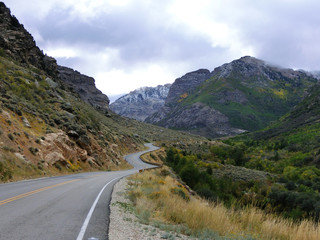 Winding country road through Nevada mountains - landscape color photo